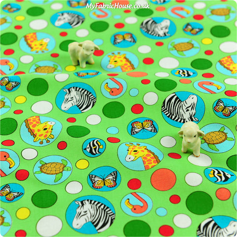 Buy cotton fabric - green Zoo Fat Quarter FQ £2.6 | My Fabric House