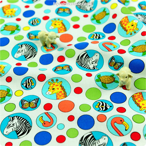 Buy cotton fabric - multicolour Zoo Fat Quarter FQ £2.6 | My Fabric House