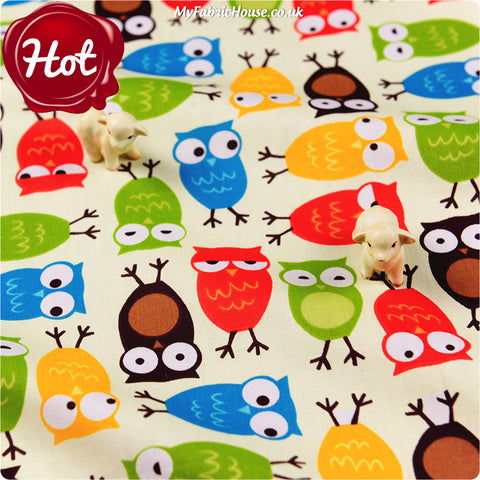 Owls - cream multicoloured owl motifs cotton fabric