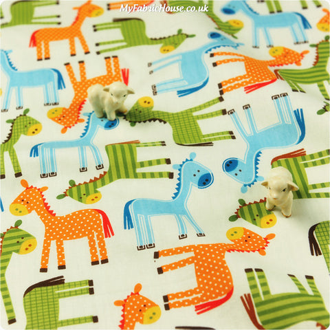 Buy cotton fabric - multicolour Farm Fat Quarter FQ £2.99 | My Fabric House