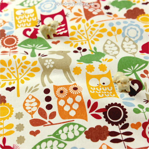 Buy linen fabric - multicolour Owls Fat Quarter FQ £3.99 | My Fabric House