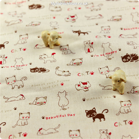 Pets - beige 'I love cats' kitty linen fabric W:94cm FQ1306-36