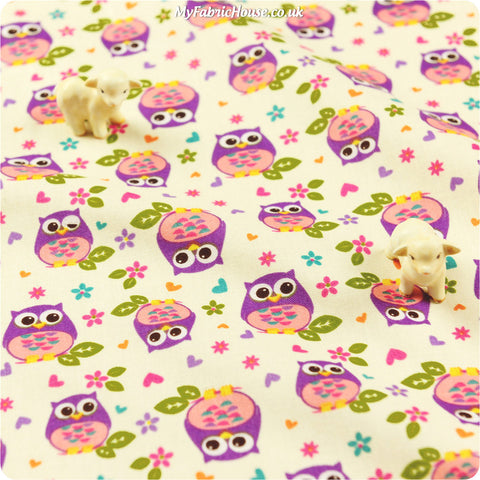 Buy cotton fabric - white Owls Fat Quarter FQ £3.49 | My Fabric House