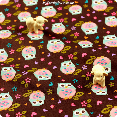 Buy cotton fabric - brown Owls Fat Quarter FQ £3.35 | My Fabric House