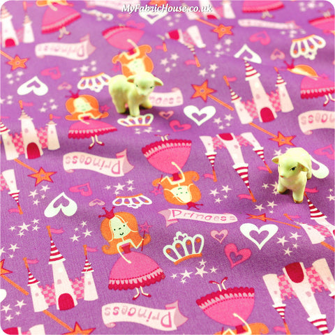 Buy cotton fabric - pink Fairy & Princess Fat Quarter FQ £3.25 | My Fabric House