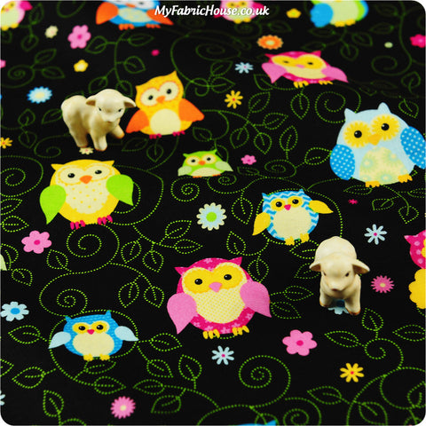 Buy cotton fabric - black Owls Fat Quarter FQ £2.6 | My Fabric House
