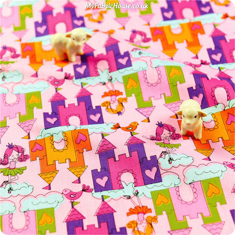 Buy cotton fabric - pink Fairy & Princess Fat Quarter FQ £2.99 | My Fabric House