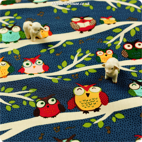 Buy cotton fabric - blue Owls Fat Quarter FQ £3.25 | My Fabric House