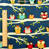Owls - blue navy cotton fabric FQ1307-15