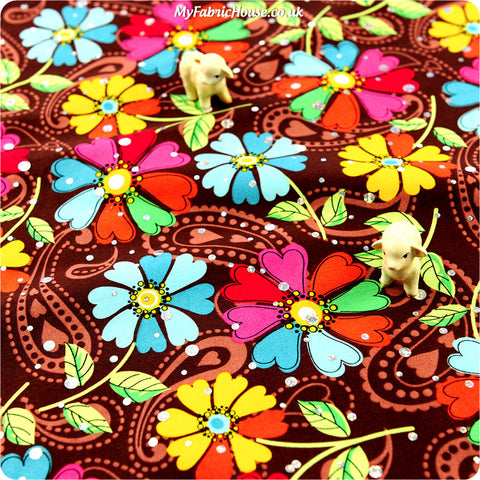 Buy cotton fabric - multicolour Flowers Fat Quarter FQ £2.99 | My Fabric House