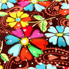 Flowers - multicolour sequined floral cotton fabric FQ1308-05