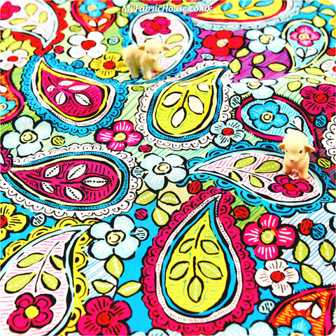 Buy cotton fabric - multicolour Paisley Fat Quarter FQ £2.99 | My Fabric House