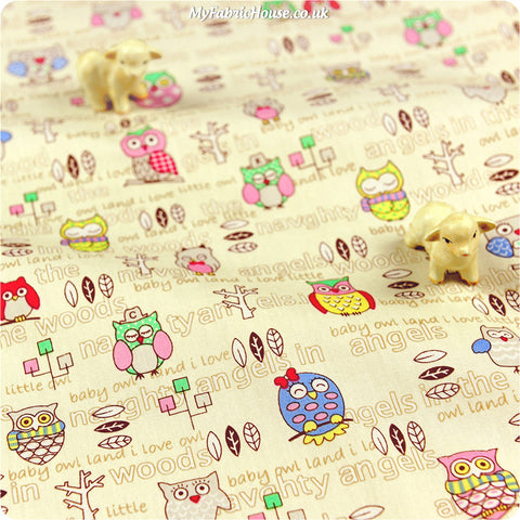 Buy cotton fabric - white Owls Fat Quarter FQ £2.99 | My Fabric House