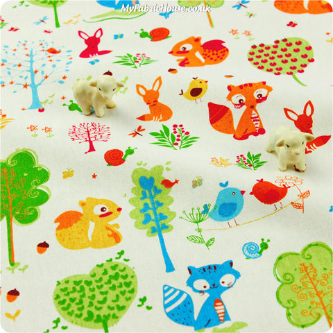 Buy linen fabric - white Woodland Fat Quarter FQ £3.99 | My Fabric House