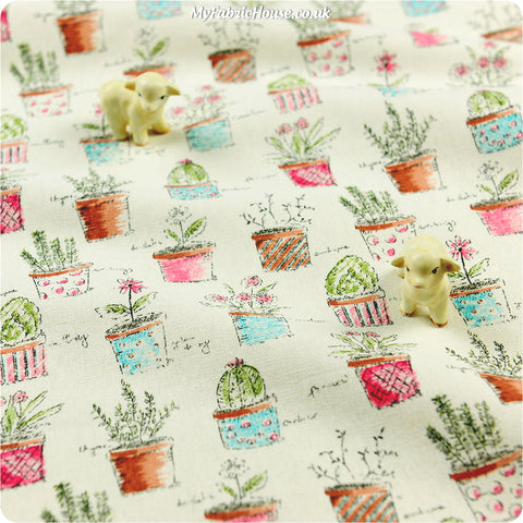 Home & Garden - cream flower pots linen fabric W:140cm FQ1308-17