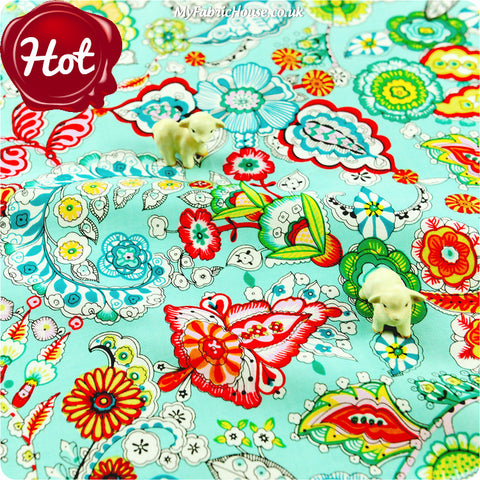 [SALE] Flowers - blue aqua multicoloured floral cotton fabric W:100cm FQ1308-26
