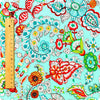 Flowers - blue aqua multicolour floral cotton fabric FQ1308-26