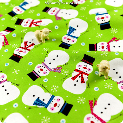 [SALE] Christmas - green snowman cotton fabric W:100cm FQ1309-01