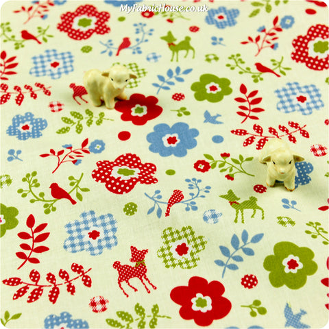 Christmas - yellow & red deer bird & flower cotton fabric W:100cm FQ1309-29