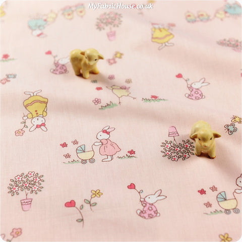 Woodland - pink rabbit cotton fabric W:160cm FQ1311-12