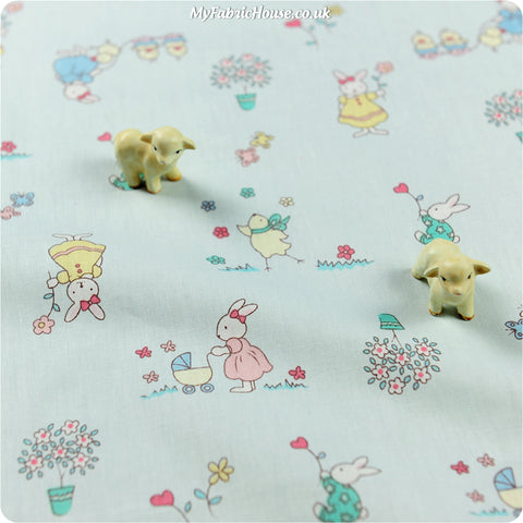 Woodland - blue rabbit cotton fabric W:160cm FQ1311-13