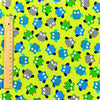 Owls - lime multicoloured owl motifs cotton fabric W:100cm FQ1311-27
