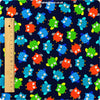 Owls - blue navy multicoloured owl motifs cotton fabric FQ1311-29
