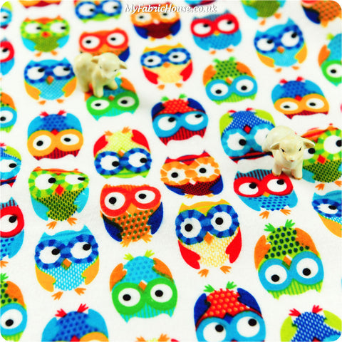 Buy flannel fabric - multicolour Owls Fat Quarter FQ £3.49 | My Fabric House