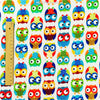 Owls - white multicoloured owl motifs flannel fabric FQ1311-33