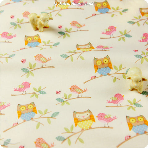Buy cotton fabric - white Owls Fat Quarter FQ £3.25 | My Fabric House