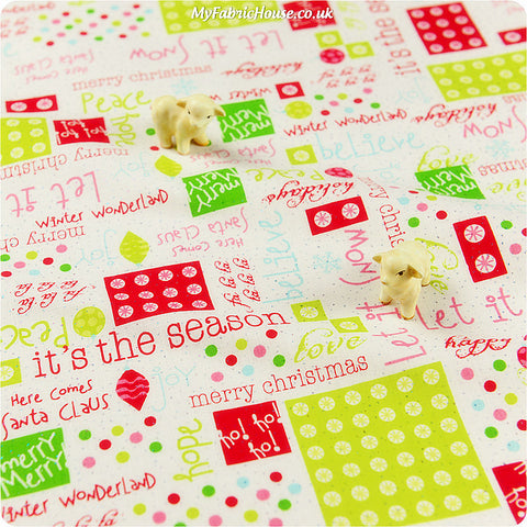 Buy cotton fabric - multicolour Christmas Fat Quarter FQ £3.25 | My Fabric House