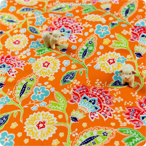 Buy cotton fabric - orange Flowers Fat Quarter FQ £3.49 | My Fabric House