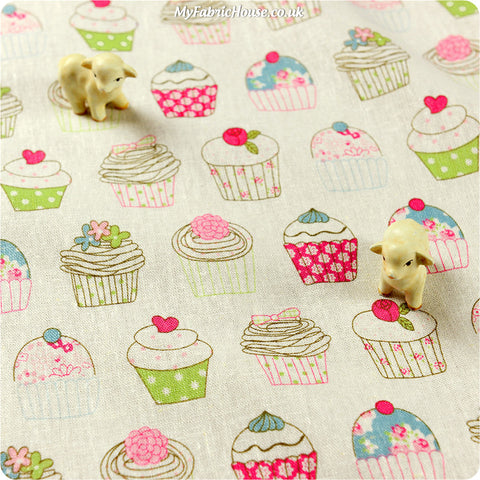 Buy linen fabric - white Food Fat Quarter FQ £3.99 | My Fabric House