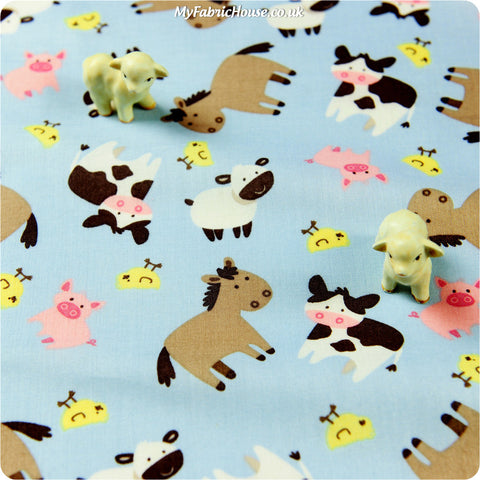 Buy cotton fabric - blue Farm Fat Quarter FQ £3.25 | My Fabric House