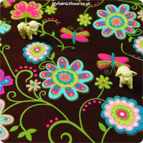 Buy cotton fabric - red Flowers Fat Quarter FQ £3.25 | My Fabric House