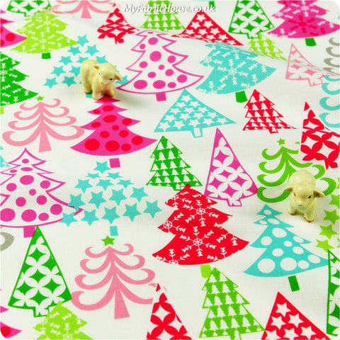 Christmas - multicoloured trees cotton fabric W:110cm FQ1401-19