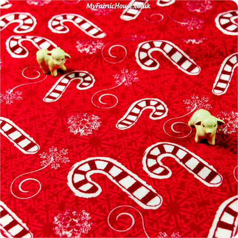 Christmas - red & white candy cane flannel fabric FQ1402-03