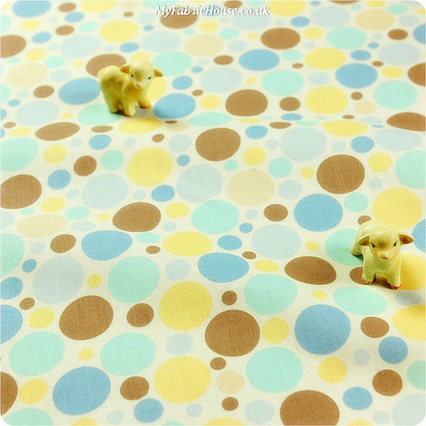 [SALE] Polka dots - blue yellow & brown irregular pebbles cotton fabric W:110cm FQ1402-12