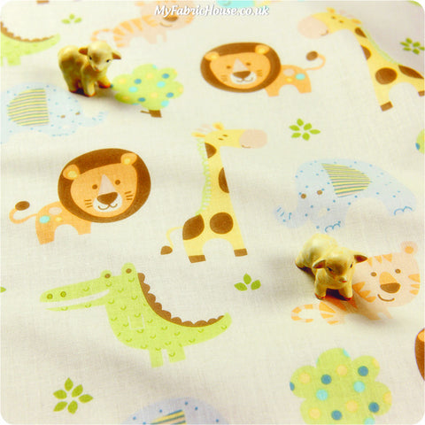 Buy cotton fabric - white Zoo Fat Quarter FQ £2.99 | My Fabric House