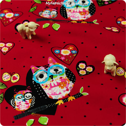 Buy cotton fabric - red Owls Fat Quarter FQ £2.6 | My Fabric House