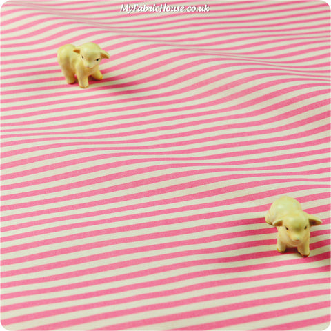Stripe - pink & white 4mm stripe cotton fabric W:100cm FQ1402-33