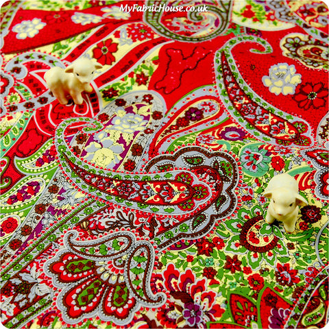 Buy cotton fabric - red Bold floral Fat Quarter FQ £2.99 | My Fabric House