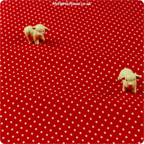 Buy cotton fabric - red Polka dots Fat Quarter FQ £2.29 | My Fabric House