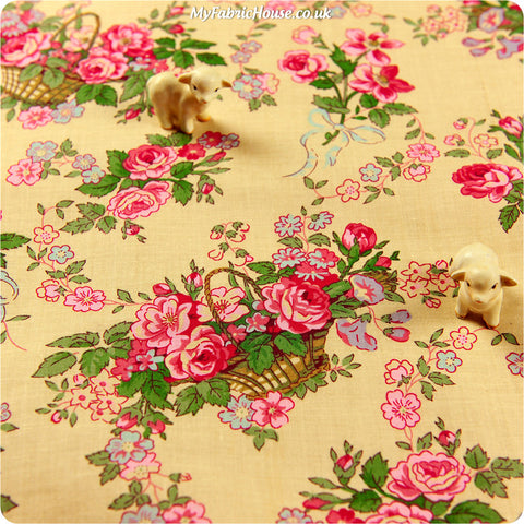 Buy cotton fabric - beige Flowers Fat Quarter FQ £2.99 | My Fabric House