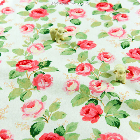 Buy linen fabric - pink Bold floral Fat Quarter FQ £3.99 | My Fabric House