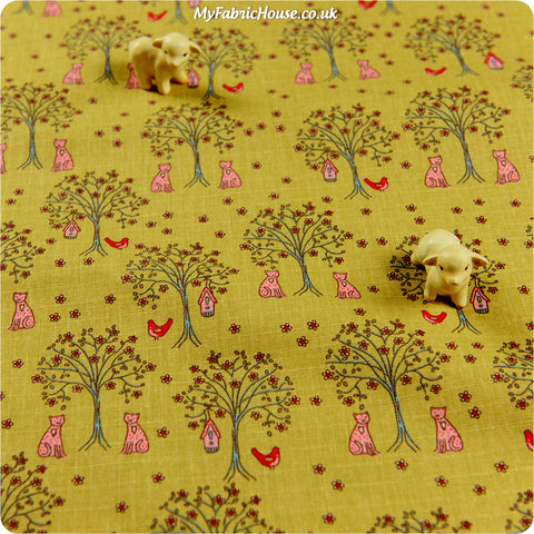 Buy linen fabric - beige Pets Fat Quarter FQ £3.99 | My Fabric House