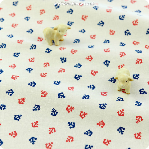 Buy cotton fabric - white Nautical Fat Quarter FQ £3.99 | My Fabric House