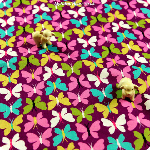 [SALE] Butterfly - purple multicoloured butterfly motifs cotton fabric FQ1405-11