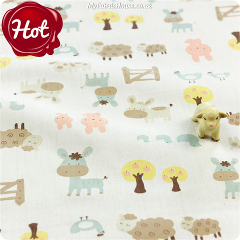 Farm - white donkey sheep & sheep cotton fabric W:160cm FQ1405-12