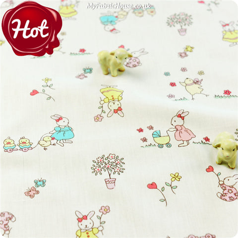 Woodland - white rabbit cotton fabric W:160cm FQ1405-13